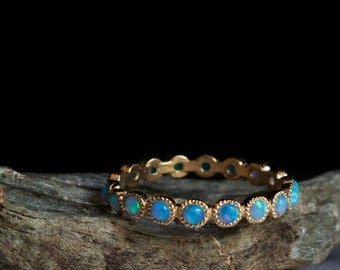Eternity Opal Gold ring - Blue stone ring- october birthstone