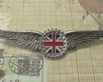 "Steampunk ""Empire""  British Flag Medallion Wings Pin"