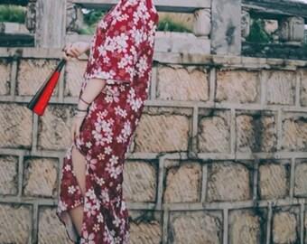 Lost in Kyoto Japanese pink cherry blossom dress/short kimono/sash