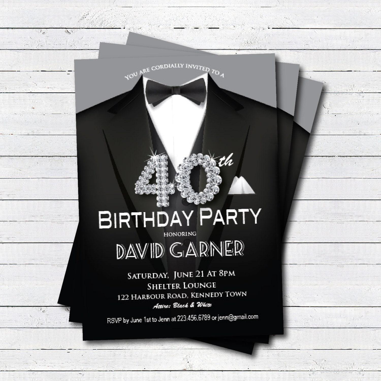40th Birthday Dinner Ideas: 40th Birthday Invitation. Man. Black Tie And Suit Diamond