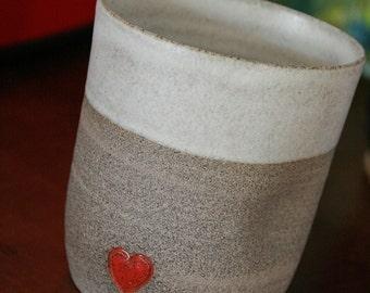 Hand made Clay Coffee mug - pottery coffee mug with a red heart  - stoneware coffee mug - curved coffee mug  - no handle coffee mug