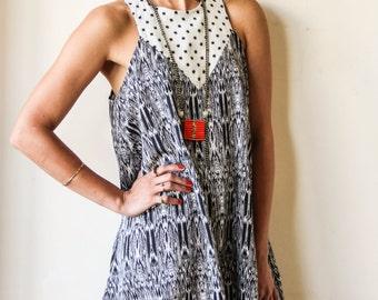 Black And Cream Printed Midi Dress / Sleeveless Dress / Casual Dress / Mini Dress / Vacation Dress / Oversize Dress / Summer Dress - Tammy