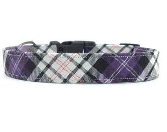 Purple Black White Plaid/Tartan Designer Dog Collar