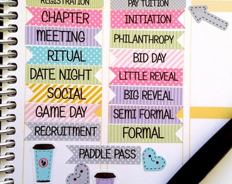 New Version, Sorority, College Stickers,School Stickers, Stripes and Dots, Flags, Fits Erin Condren and others, Kiss Cut, Calender Stickers