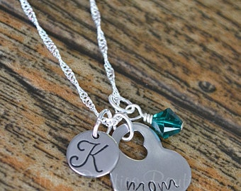 Mom Heart Necklace, Hand Stamped, Mother's Day, Mom Gift, Personalized Necklace