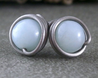 Wire Wrapped Earrings Amazonite Earrings Studs Pure Titanium Earrings Silver Wire Wrapped Jewelry Amazonite Jewelry Hypoallergenic Studs