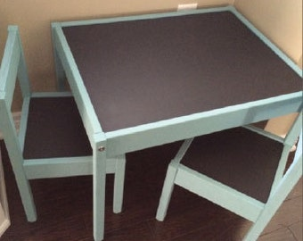 Custom Painted Children Table and Chairs with Chalkboard Table with 4 Chairs