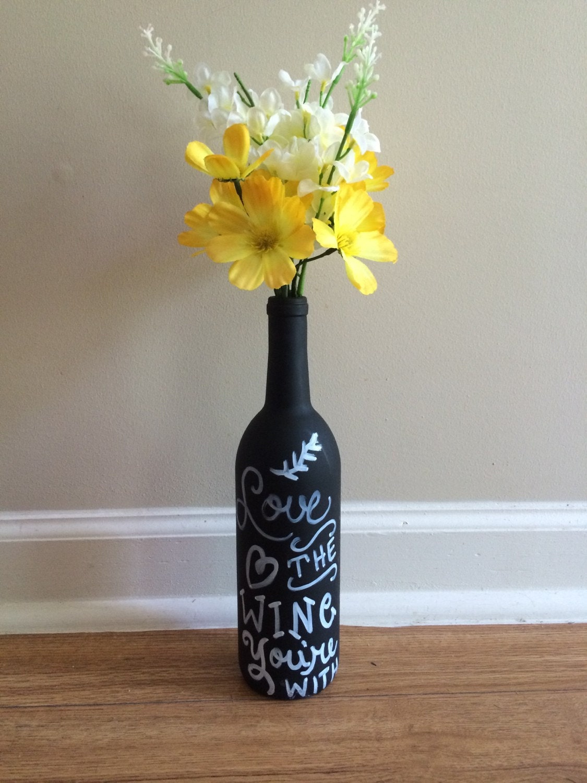 Chalkboard wine bottle decor flower vase quote by for Wine bottle flower vase