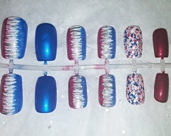 Patriotic Fake Nail Set- Press on Nails- Glue on Nails- Artificial Nails- 4th of July Nails- American Nails- Red, White, and Blue Nails- USA