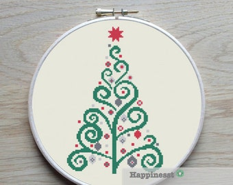 Christmas cross stitch pattern, modern green christmas tree, modern cross stitch, PDF, ** instant download**