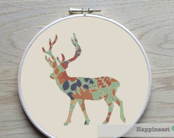 cross stitch pattern deer, modern cross stitch, PDF,  ** instant download**