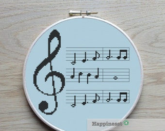 cross stitch pattern music, modern cross stitch, music notes, G clef, PDF,  ** instant download**