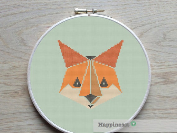 Cross stitch pattern fox, geometric pattern, modern cross stitch, woodland,  PDF ** instant download**
