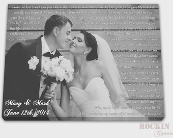 Cotton anniversary gift, Wedding picture with lyrics, Firts dance song, Wedding vows on canvas, Anniversary git for him, Engagement Gift