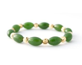 Nephrite Jade, Jade Gold Jewelry, Wishing Bracelet, Green Bracelet Boho, Gold Jade Bracelet, Dainty Gold Bracelet, Nature Lover