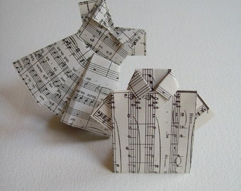 Musical Chairs: Music Theme / Music Note Dress / Paper Dress / Paper Shirt / Origami Place Cards / Set of 10 / Baby Shower Decoration