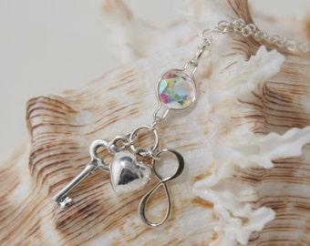 Opalescent Topaz and Key Heart Infinity Charms Pendant, 16-18 inch Sterling Silver chain
