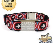 "Captain America Personalized Dog Collars Avengers Superhero FREE engraving Durable 304 Stainless Steel tag 1"" width Adjustable dog collar !!"