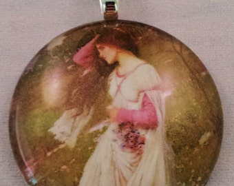Handmade glass pendant necklace with Painting by John W. Waterhouse