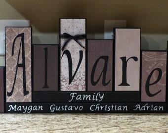 Family Block Letters home decor unique custom gift