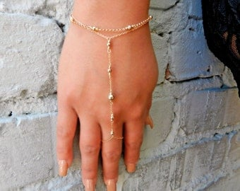 Gold Hand Chain, Hand Jewelry, Slave Bracelet, Finger Bracelet , Ring Chain Bracelet, Friendship Bracelet, Bridesmaid Gift, Mothers Day Gift