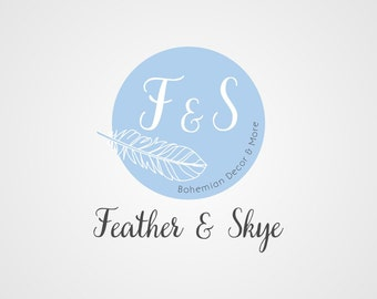 Premade Logo, Boutique Logo, Bohemian Logo, Typography Logo, Custom Business Logo, Badge, Feather