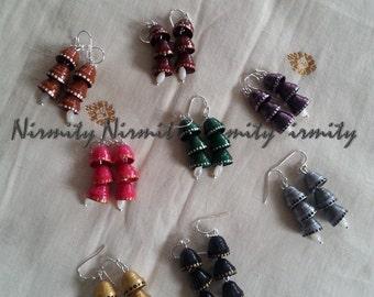Bulk-tiered earrings-earrings-paper earrings-quilled earrings-various colors-set of 8 - bulk tiered earrings - jhumka