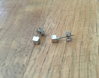 Tiny Cube Studs in Silver Plating