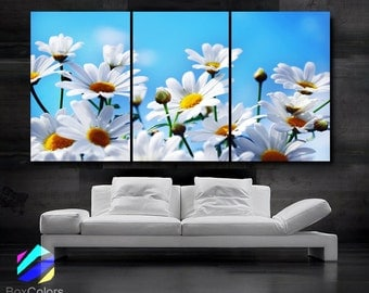 "LARGE 30""x 60"" 3 Panels Art Canvas Print Daisies Flowers Floral White Light Blue Wall (Included framed 1.5"" depth)"