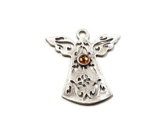 Silver Plated Brass Fretwork Angel Pendant, Amber Glass Bead Detailed