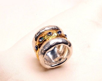 Mixed metal and stone ring - Amethyst stone ring- silver and gold statement ring - wide band ring
