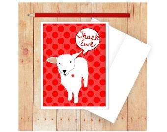 Thank You Card, Thank Ewe, Pun Art, Thank You Note Cards, Blank Thank You Card Set, Sheep, Ewe, Lamb, Thank You Note Card, Red Polka Dots