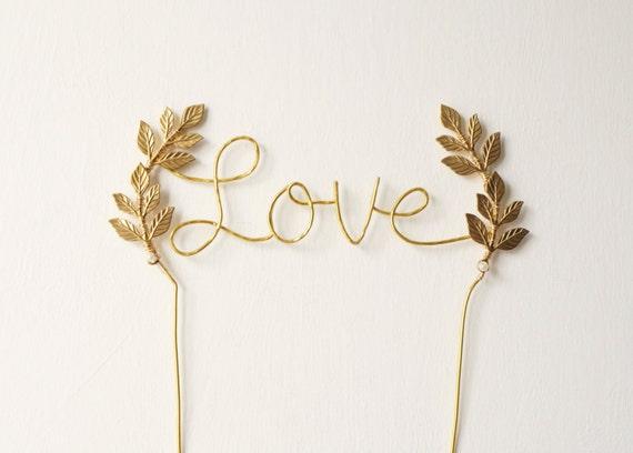 Gold Love Wedding Cake Topper Cursive Love Gold Cake Topper Leaf Cake Topper Rustic Chic