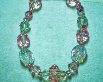 Pink   crystal beaded bracelet