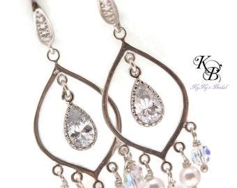 Wedding Earrings, Sterling Silver Earrings, Chandelier Earrings, Bridal Jewelry, Wedding Jewelry, Dangle Earrings, Bridal Earrings