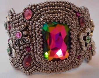 Bead Embroidered bracelet by Cathy Helmers