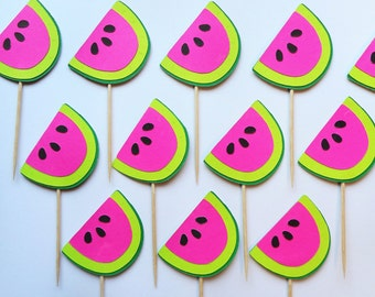 Pink or Red  Watermelon 1st Birthday Cupcake Toppers Picnic Baby Shower Garden Party Red Color Option