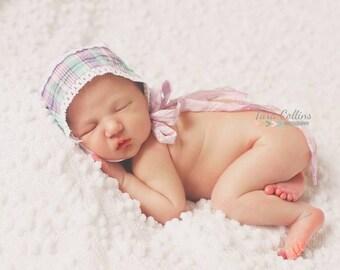 baby girl bonnet green purple plaid baby shower gift lace hat infant bonnet photo prop infant hat purple hat purple baby hat vintage bonnet