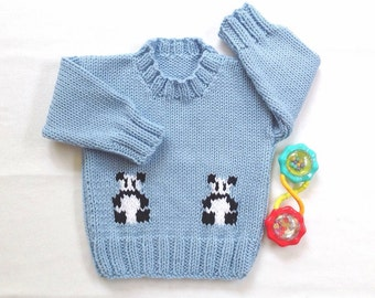 Panda sweater - 12 to 24 months - Blue baby sweater - Toddler blue sweater - Infant panda sweater