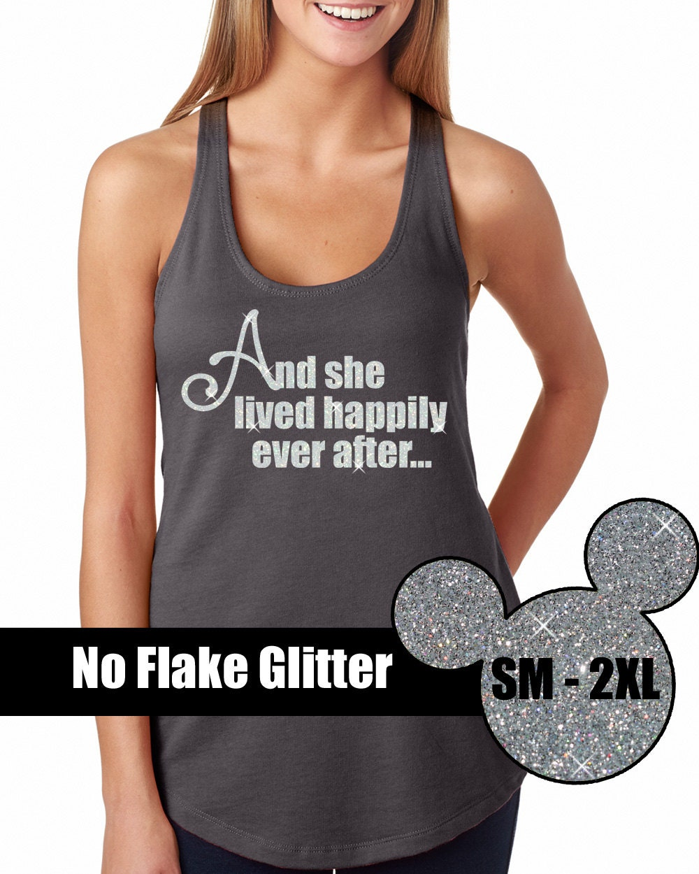 Glitter She Lived Happily Ever After Tank Disneyland Shirt
