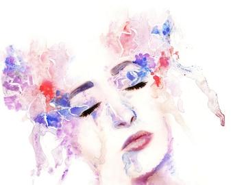 Portrait Photograph, Watercolor, Paint, Photography / Custom Size / Somerset Velvet Fine Art Matte Paper