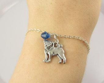 Pug Bracelet- choose a color, Pug Jewelry, Pug Dog Bracelet, Dog Bracelet, Dog Jewelry, Pug Charm Bracelet, Pink Pug, Black Pug, Blue Pug