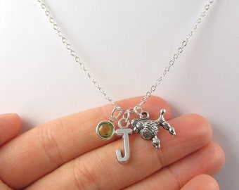 Personalized Poodle Necklace- choose a birthstone and initial, Poodle Jewelry, Poodle Gift, Personalized Poodle, Poodle Charm, Dog Necklace