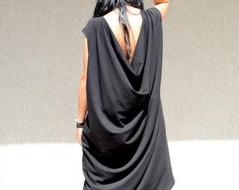 Loose maxi asymmetric oversize dress, oversized casual everyday clothing, black draped dress, black maxi dress, clothing for plus size women