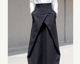 floor length skirt, High Waisted Skirt, prom long skirt, Oversized Skirt, Long Length Skirt, maxi skirt pockets, Black Maxi Skirt