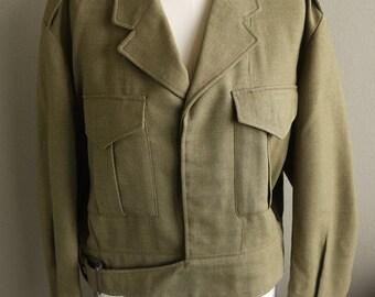 Vintage 1960 Jacket - Mens Australian Military Battledress IKE Jacket 1968 Wool Olive Drab, 41-42s size