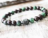 Garnet Bracelet Yoga Bracelet Buddha Bracelet Ruby Zoisite Mala Healing Jewelry