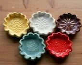 Tea Spoon Rest, Small Gift, Rainbow Bouquet, Flower Garden, Bridal Shower Tea Party, Handmade, Slab Built, Scalloped, White Stoneware