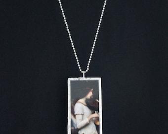 Pre Raphaelite - Microscope Slide Necklace - Double Sided - Waterhouse