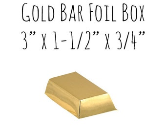 """Gold Bar Foil Favor Box 10 Pack, 3"""" x 1-1/2"""" x 3/4"""", Gold Box, Candy Box, Party Box, Gold Party, Gold Themed, Pirate, Shiny, Treasure"""